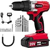 20V MAX Lithium-Ion Cordless Drill, Power Drill Set with 3/8 inches Keyless Chuck