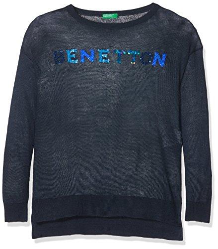 United Colors of Benetton United Colors of Benetton Mädchen Sweater L/S Sweatshirt, Blau (Dark Blue 13C), 104 (Herstellergröße: XX)
