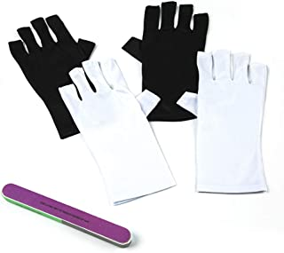 CeleMoon 2 Pairs Nails UV Shield Glove Protect Hands from UV/LED Light for Gel Manicures - Black & White