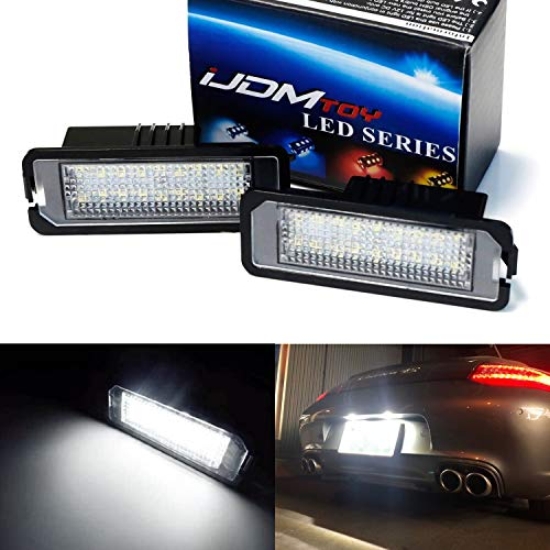 iJDMTOY OEM-Fit 3W Full LED License Plate Light Kit Compatible With Volkswagen Golf GTi CC Rabbit Eos Beetle Porsche Cayman Carrera Cayenne Boxster, 18-SMD Xenon White LED & Can-bus Error Free