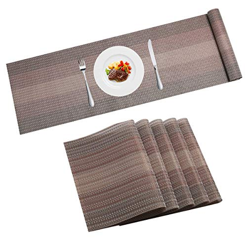 Pauwer Platzset 6er set mit Passenden Tischläufer Rutschfest Abwaschbar PVC Abgrifffeste Hitzebeständig Platzdeckchen,Kaffee