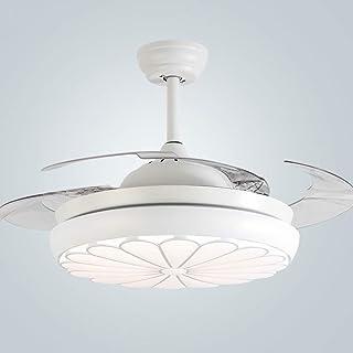NAF Moderno Ventilador de Techo con luz/aspa del Ventilador Invisible/Control Remoto/Corriendo en Verano e Invierno iluminación Interior de 42 Pulgadas/Mute/Comodidad/Blanco