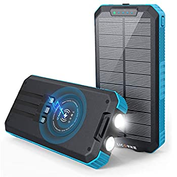 Solar Charger - 30000mAh Solar Power Bank Wireless Portable Charger Quick Charge 3.0 Type C Input Port with 6 Outputs Dual Flashlight External Battery Portable Charger Power Bank for iOS and Android