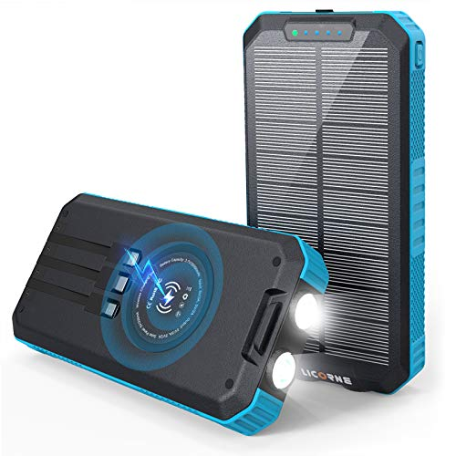 Solar Charger - 30000mAh Solar Power Bank Wrieless Portable Charger Quick Charge 3.0 Type C Input Port with 6 Outputs, Dual Flashlight External Battery Portable Charger Power Bank for iOS and Android