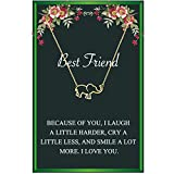 Best Friend Elephant Necklace for Women-Good Luck Elephant Necklace Geometric Origami Elephant Pendent Necklace with Inspirational Message Card Animal Necklace(Gold)
