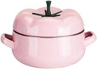 WQF Ollas, Cazuela, Cazuela de Hierro Fundido esmaltado con Tapa de Hierro Fundido con Tapa Creativa Bandeja de Sopa Moderna de Gas de Llama (Color: Rosa) (Color: Rosa)