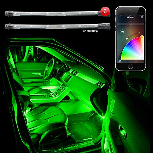 6pc 10' 2nd Gen Flexible Strip Car Interior Grill XKchrome App Control Under Car LED Accent Light Kit Millions of Colors Patterns Dual Zone Music Sync Smart Brake Feature