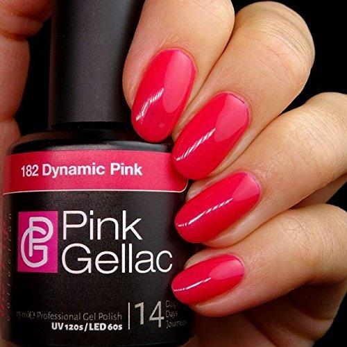Pink Gellac 182 Dynamic Pink Color Esmalte Gel Permanente 14 días