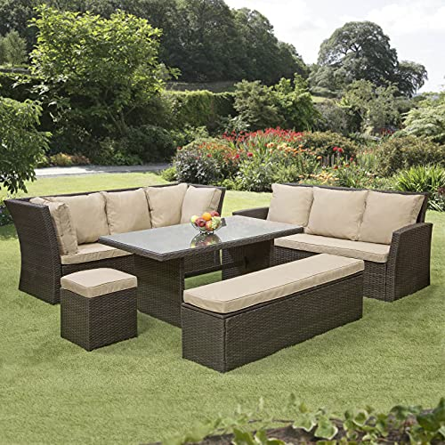 Nevada 10 Seat Rattan Wicker Luxury Corner Sofa Set Garden Patio Furniture