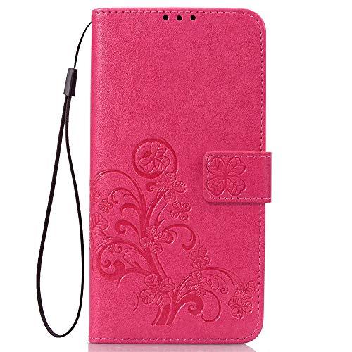 LAGUI Hülle Geeignet für Samsung Galaxy J4 Core, Schönes Muster Brieftasche Handyhülle. Rot