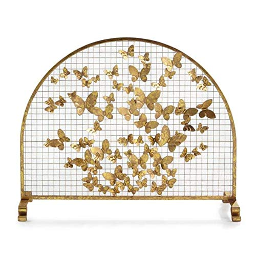 Check Out This FF Fireplace Screens Flat Arch Fire Screen Decorative Mesh, Baby Safe Wrought Iron Sp...