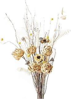 Sxmy meuble TV bar décoration sol bouquet sec lmdec boule dorée eucalyptus branche sèche arrangement fleurs séchées