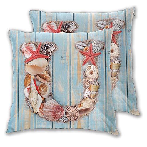 FULIYA Fundas de almohada decorativas de 2 piezas, diseño costero de vida silvestre subacuática con palabras del alfabeto U, apto para cama completa, funda de cojín de 45,7 x 45,7 cm
