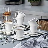 MALACASA, Serie Amparo, 18 teilig Set Porzellan Kaffeeservice Dessertteller Kaffeetasse mit Untertasse für 6 Personen - 4
