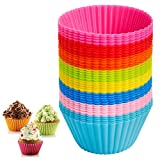 HEHALI 40pcs Silicone Cupcake Liners Baking Cups Muffin Molds, 8 Colors