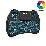 「Mitid RGB Backlit Mini Keyboard バックライト付きミニキーボード2.4gワイヤレスマウスパッド付き for TV Box/Smart TV/IPTV/PS3/PS4, Black」の画像