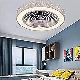 HHGM Invisible Ventilador de Techo Luz de Techo LED Silencioso Ventilador de Techo Moderna Lámpara de Techo con Luz y Mando a Distancia Ventilador Plafones Salón Dormitorio Habitación para Niños, 36W