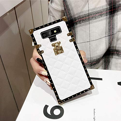 Galaxy Note 9 Grid Plaid Case,SelliPhone Luxury Design Cute Slim Diamond Lattice Soft TPU Trunk Case,Unique Women Girls Lady Phone Skin for Samsung Galaxy Note 9 (2018),White