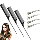 3 Packs Carbon Tail Comb Fiber Teasing Combs Rat Tail Comb Stainless Steel Pintail Comb Heat Resistant Teasing Comb Metal Alligator Curl Clips (Black)