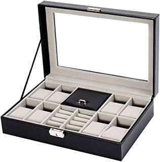 2 Tier Watch Organizer Box with Glass Lid, 12 Slots PU Leather Case Organizer with Jewelry Drawer for Storage and Display