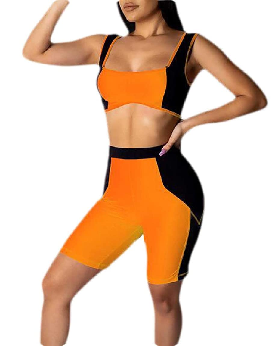 懐疑論広範囲に熟達Women's 2 Piece Shorts Set Sexy Color Block Crop Top + Shorts Tracksuit