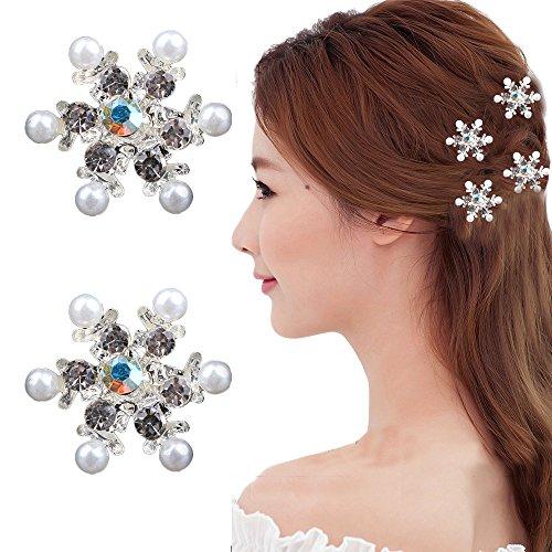 Utsunomiya® Lot de 4 Glamour magnifique Flocons de neige avec glanzende Taille et blanc cristaux strass, bijou cheveux épingles à cheveux haarpin spirales spirales à cheveux, Mariée Mariage Cérémonie