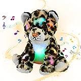 Bstaofy Musical LED Cheetah Plush Light up Leopard Stuffed Animals Night Light Companion Bedtime Jungle Toys Glow Afraid of Dark, 10''