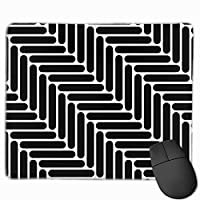 """Black And White Simple Geo Herringbone Seamless Mouse Pad Non-Slip Rubber Gaming Mouse Pad Rectangle Mouse Pads for Computers Desktops Laptop 9.8"""" x 11.8"""""""