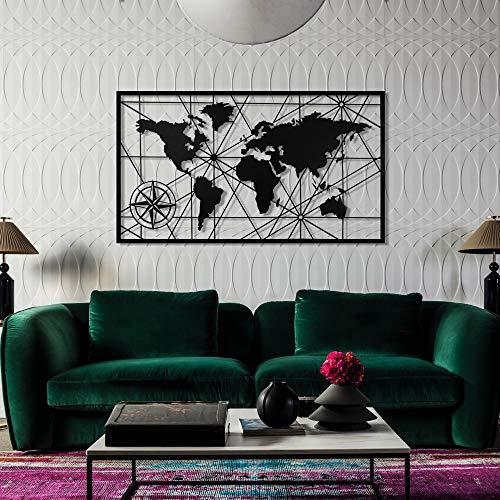 Baupor Design unique carte du monde en métal carte du monde Décoration murale en métal Décoration murale 3d en métal Sculpture murale en métal décor pour Home Office Chambre à coucher (98x 62 cm)