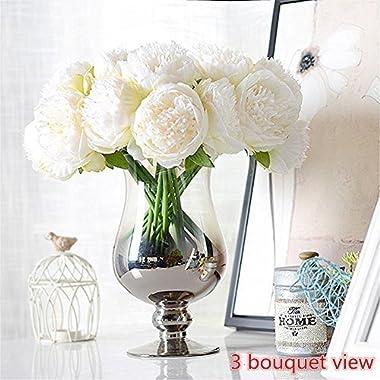 Felice arts Silk Peony Bouquet 5 Heads Artificial Fake Flower Bunch Bouquet Bridal Bouquet Wedding Living Room Table Home Garden Decoration, Cream