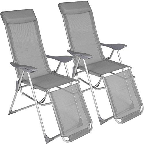 TecTake 402763 2er Set Aluminium Liegestuhl, abnehmbares Kopfpolster, klappbar, verstellbare Rückenlehne und Fußteil, grau