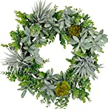 idyllic 20 Inches Artificial Greenery Wreath, Summer Succulents Wreath for Front Door, Wall Decor, Indoor Decoration