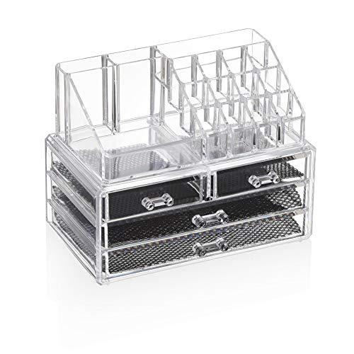 YiYa Make Up Organizzatore Porta Trucchi Trucco Contenitori Portatrucchi Cosmetici Trasparente 4 Cassettiera Plastica Scomparti Organiser