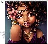 Cortinas De Ducha Modernas African Woman Shower Curtain Waterproof Cloth Polyester Bath Curtain Bathtub Curtains Fabulous Girl