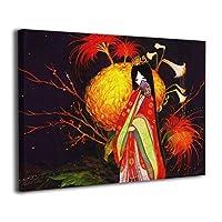 Skydoor J パネル ポスターフレーム 着物女 優雅 夜 インテリア アートフレーム 額 モダン 壁掛けポスタ アート 壁アート 壁掛け絵画 装飾画 かべ飾り 30×40