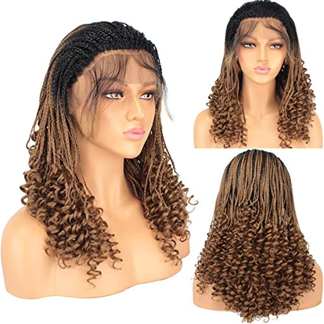 Leeven 20 Inch Micro Braids Wig With Curly End Lace Front Wig 1B27# Braiding Styles Cornrows Half Box Braided Wigs Synthetic African Hair for Black Women with Baby Hair