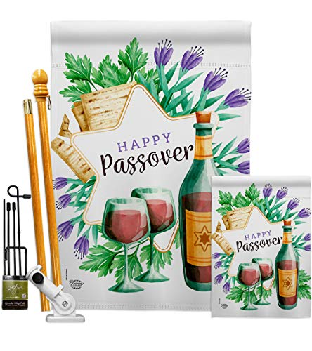 Ornament Collection Passover Happy Garden House Flags Kit Religious Wine Celebration Festival Holiday Jewish Hanukkah David Small Decorative Gift Yard Banner Double-Sided Made in USA 28 X 40