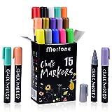 Morfone Rotuladores de tiza líquida , Juego de 15 marcadores de tiza colores con pinzas + trapo+ 32 etiquetas , para uso en pizarras, álbum de fotos DIY ,cerámica, cristal