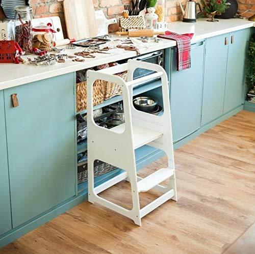 Montessori leertoren - keukenhulpjes voor kinderen en peuters - kinderkruk met verstelbare trap voor werkblad en tafel - bescherming tegen uitvallen - duurzame producten (Wit)