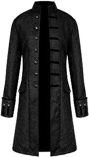 Mens Button Fashion Steampunk Vintage Tailcoat Jacket Gothic Long Retro Coat