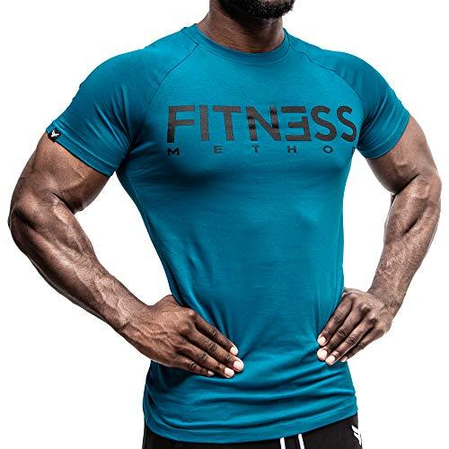 Fitness Method, Sport T-Shirt Herren, Slim-Fit Shirt bequem & hochwertig Männer, Rundhals & Tailliert, Training & Freizeit, Gym & Casual Workout Mann, 95% Baumwolle, 5% Elastan, (Petrol - Schwarz XL)