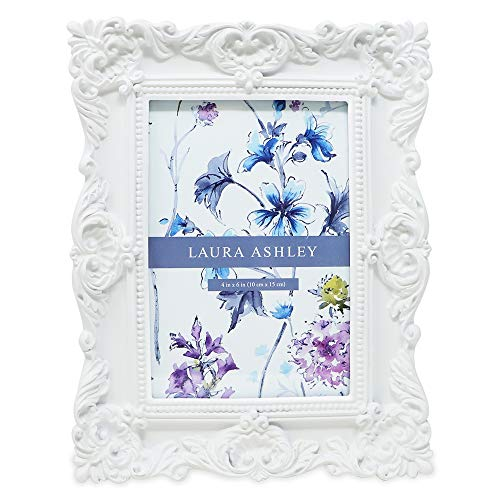 Laura Ashley 4x6 White Ornate Textured Hand-Crafted Resin Picture Frame with Easel & Hook for Tabletop & Wall Display, Decorative Floral Design Home Décor, Photo Gallery, Art, More (4x6, White)