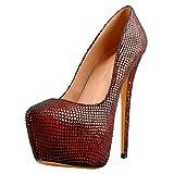 Only maker Damen Pumps Plateau High Heels mit Extrem Hohem Stiletto Absatz Glitzer Netzmuster Schwarz Rot 39 EU