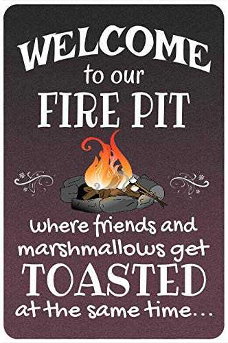 Welcome to Our Fire Pit 8x12 Metal Campfire Sign Home Decor Camping Sign