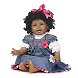 Reborn Baby Doll Girl 22inch Realistic Soft Silicone Baby Newborn Black Doll African American Black Curly Hair Denim Dress Gift Set