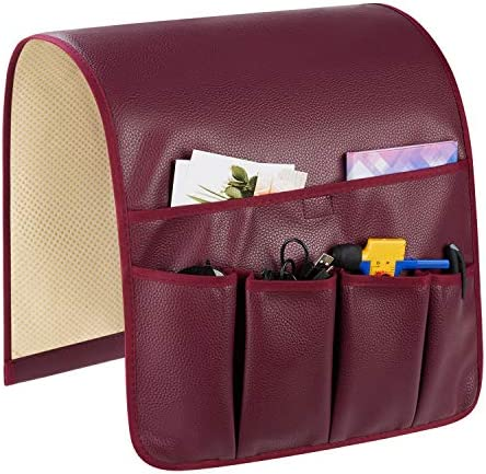 Teniux Leather Remote Control Holder Non Slip Couch Sofa Chair Armrest Organizer with 5 Pockets product image