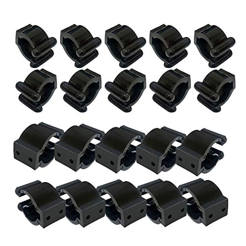 SONPP 20 Pieces Regular Fishing Rod Storage Clips, Fishing Pole Holder Clip Storage Rack, 2 Style & 10Pcs Each Style - Big for Hold Handle, Small for Hold Your Pole