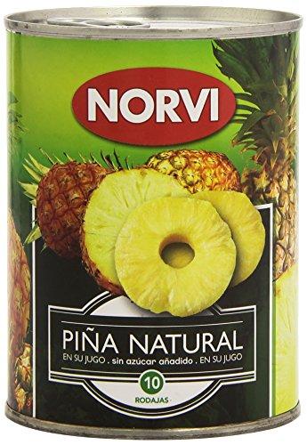 Norvi - Piña natural en su jugo - Sin azúcar añadido - 565 g; 10 rodajas