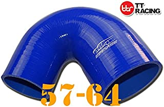 4-ply Silicone Joiner 135 Degree Reducer Elbow Hose Pipe Blue 57mm - 64mm (2.25