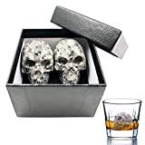 Palksky Whiskey Stones-Hand Carved Skull Bone Chill Rocks Whiskey Stones for Whiske 100% Natural Pure Granite for Whiskey Scotch Vodka Beverage Chilling Stones- set of 2